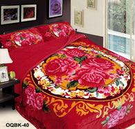 OSAKA 3 piece quilted borrego blanket set, OQB-40 RED
