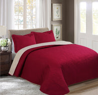 BELLAHOME 3pcs embossing bedspread set, QMIAMI burgundy&beige