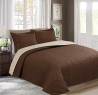 BELLAHOME 3pcs embossing bedspread set, QMIAMI coffee&camel