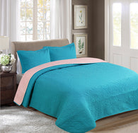 BELLAHOME 3pcs embossing bedspread set, QMIAMI pink&turquoise
