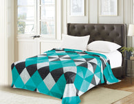 TOWNHOUSE flannel blanket, RFMQ/K-51 TURQUOISE