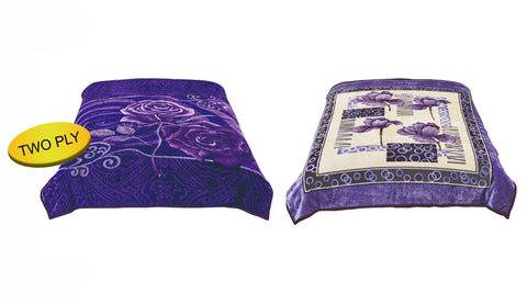 S.N 2ply Queen size luxury blanket, SN-91 PURPLE