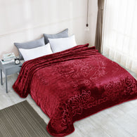 TOWNHOUSE 1ply embossing cloud blanket, solid color, TCB-BURGUNDY
