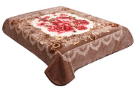 BELLAHOME, 1ply embossing Jumbo size blanket, TEBJ-38 brown