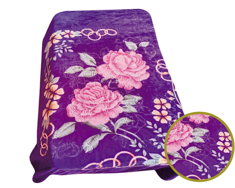BELLAHOME 1ply queen size luxury embossing blanket, TEQF-54 PURPLE