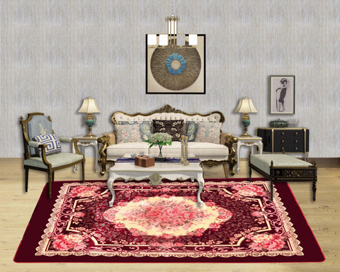 TOWNHOUSE super soft carpet with Anti-slip, TRG-S01 BURGUNDY