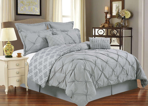UNIQUE HOME 8 Piece Reversible Pinch Pleat Comforter Set, UCF8-GRAY