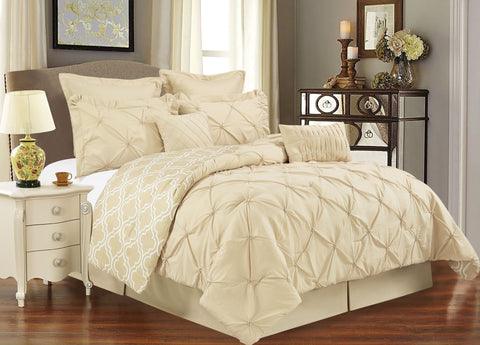 UNIQUE HOME 8 Piece Reversible Pinch Pleat Comforter Set, UCF8-TAUPE