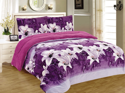 OSAKA 3 PIECE BORREGO BLANKET UHM-66 PURPLE