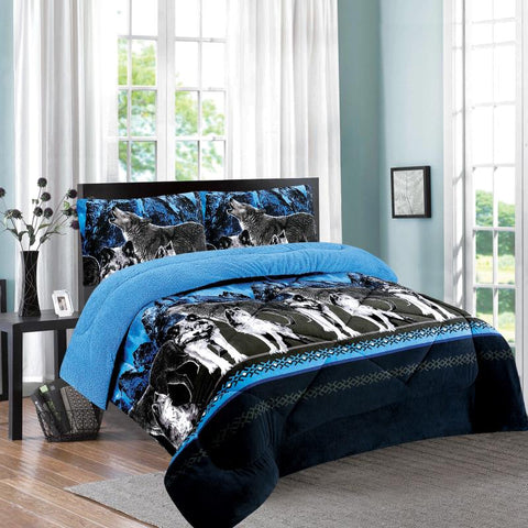 OSAKA 3 PIECE BORREGO BLANKET, UHM-86 BLUE