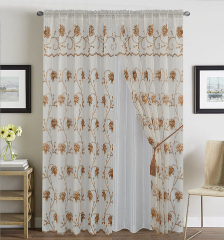 BELLAHOME  2panels curtain with Attached Valance, ALMA-BEIGE
