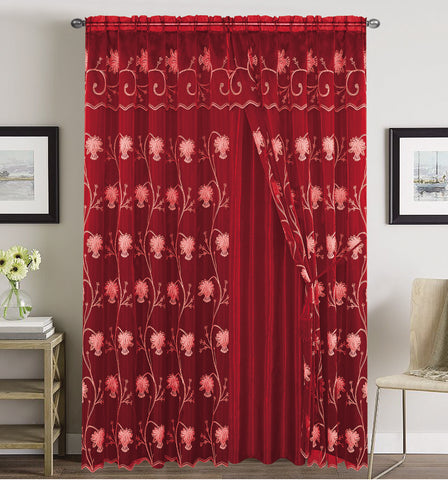 BELLAHOME  2panels curtain with Attached Valance, ALMA-BURGUNDY