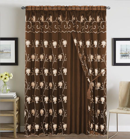 BELLAHOME  2panels curtain with Attached Valance, ALMA-COFFEE