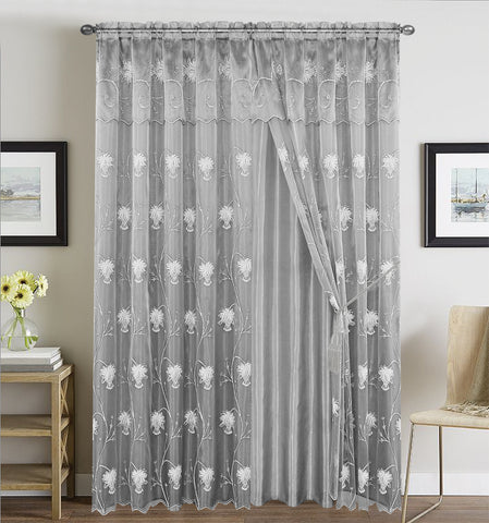 BELLAHOME  2panels curtain with Attached Valance, ALMA-SLIVER