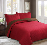 BELLAHOME 3pcs embossing bedspread set, QMIAMI burgundy&coffee