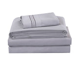 UNIQUEHOME 90g 4pcs bedsheet set, luxury embroidered, 90BSEM-LN  GRAY