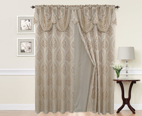 BELLAHOME  2panels curtain with Attached Valance, ISABEL-BEIGE