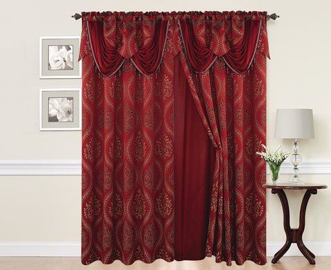 BELLAHOME  2panels curtain with Attached Valance, ISABEL-BURGUNDY