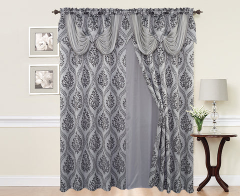 BELLAHOME  2panels curtain with Attached Valance, ISABEL-GREY