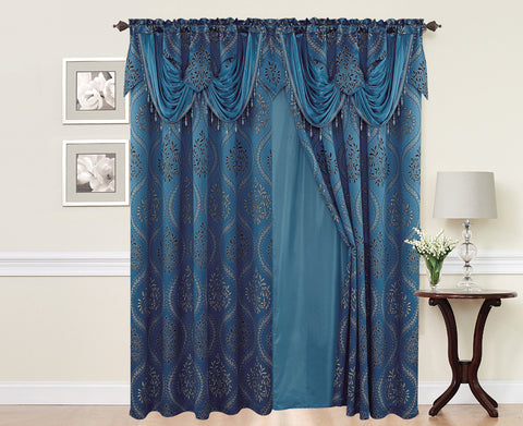 BELLAHOME  2panels curtain with Attached Valance, ISABEL-TURQUOISE