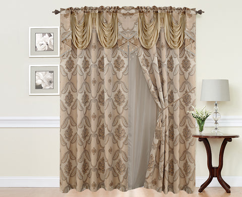 BELLAHOME  2panels curtain with Attached Valance, JULIE-TAUPE