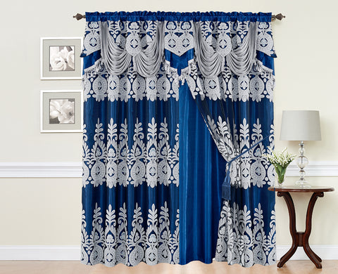 BELLAHOME  2panels curtain with Attached Valance, MONICA-BLUE