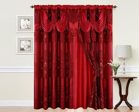 BELLAHOME  2panels curtain with Attached Valance, MONICA-BURGUNDY