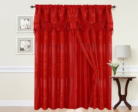 BELLAHOME  2panels curtain with Attached Valance, MONICA-RED