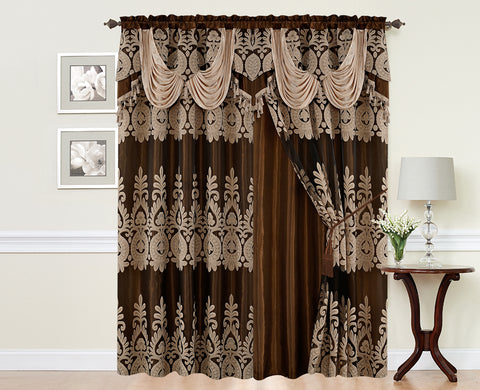 BELLAHOME  2panels curtain with Attached Valance, MONICA-TAUPE