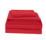 UNIQUEHOME 90g 4pcs bedsheet set, luxury embroidered, 90BSEM-LN  RED