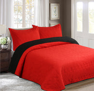 BELLAHOME 3pcs embossing bedspread set, QMIAMI red&black