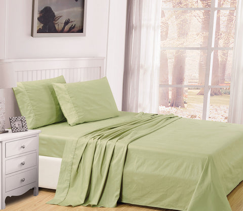 UNIQUEHOME 100% cotton 4pcs bedsheet set, CBS200 SAGE