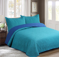 BELLAHOME 3pcs embossing bedspread set, QMIAMI turquoise&blue