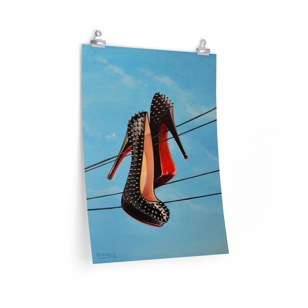 Poster Print Louboutin Spiked Pumps Heel Painting
