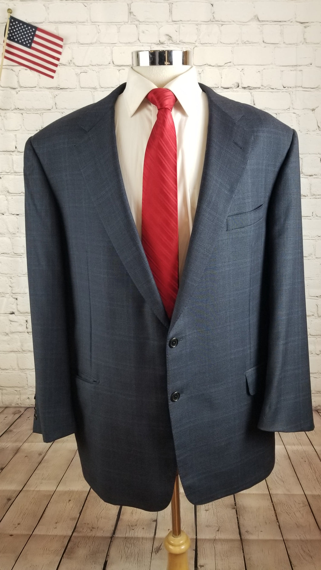 Hickey Freeman Men's Navy Blue Plaid Wool Blazer Sport Coat Suit Jacket Size 44R $1,148 - SUIT CHARITY OUTLET