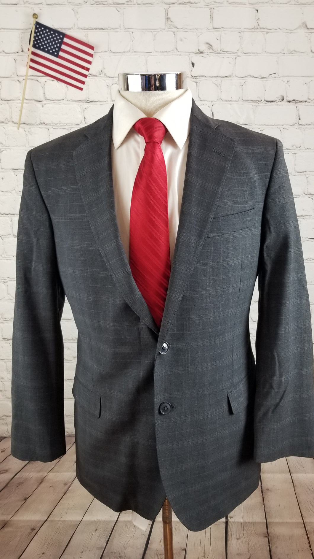 Brooks Brothers Men's Gray Plaid Wool Suit 40R Pants 34X27 $798
