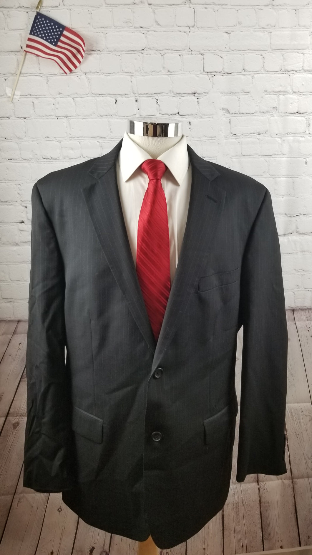 Pronto Uono Men's Black Stripe Wool Suit 46L Pants 34x32 $595 - SUIT CHARITY OUTLET