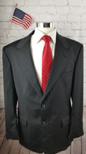 Stafford Black Stripe Wool Suit 44R Pants 32X30 $348 - SUIT CHARITY OUTLET