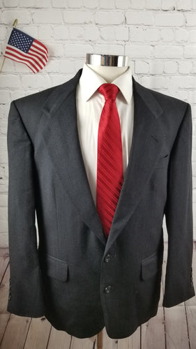 Oscar De La Renta Gray Stripe Suit 42R Pants 32X28 $1,098 - SUIT CHARITY OUTLET