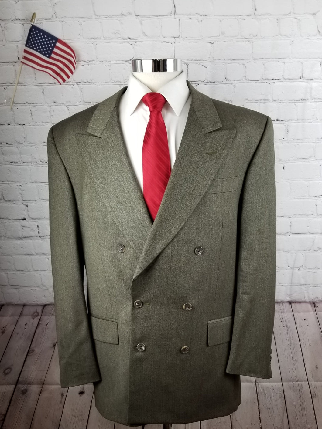 Vito Rofolo Green Textured Wool Suit 46L Pants 32X30 $475