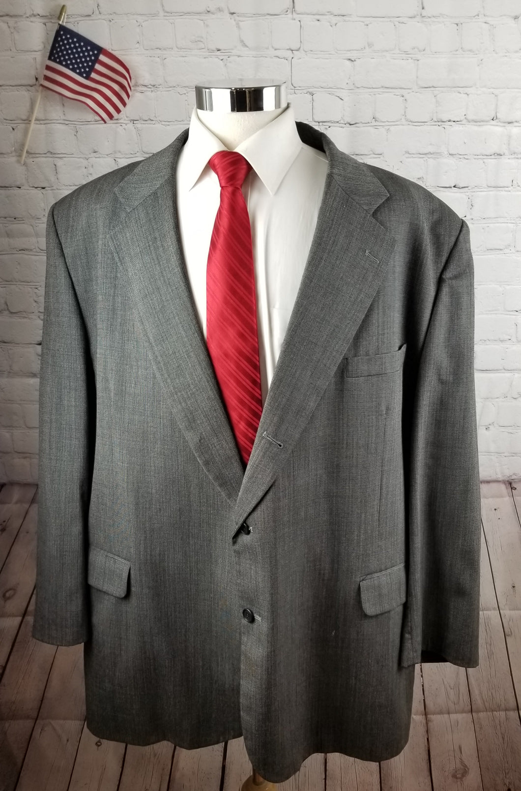 Custom Made Gray Check Suit Jacket 52L $595 - SUIT CHARITY OUTLET