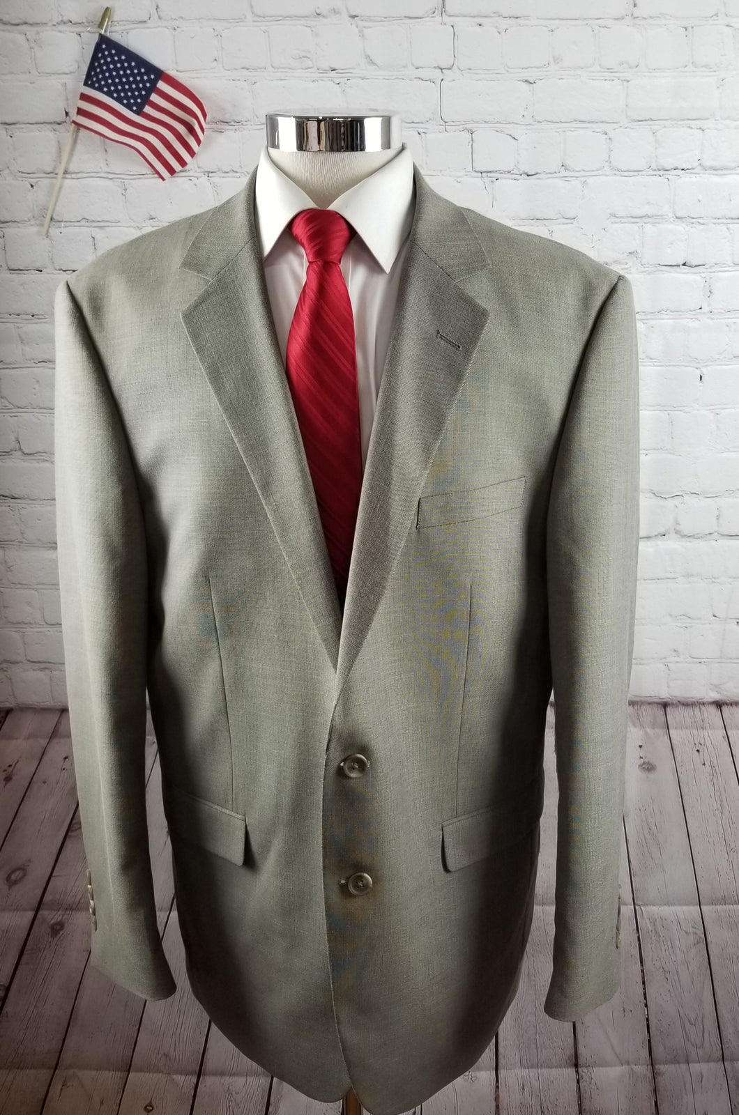 Van Huesen Gray Textured Suit 46L Pants 38X32 $329