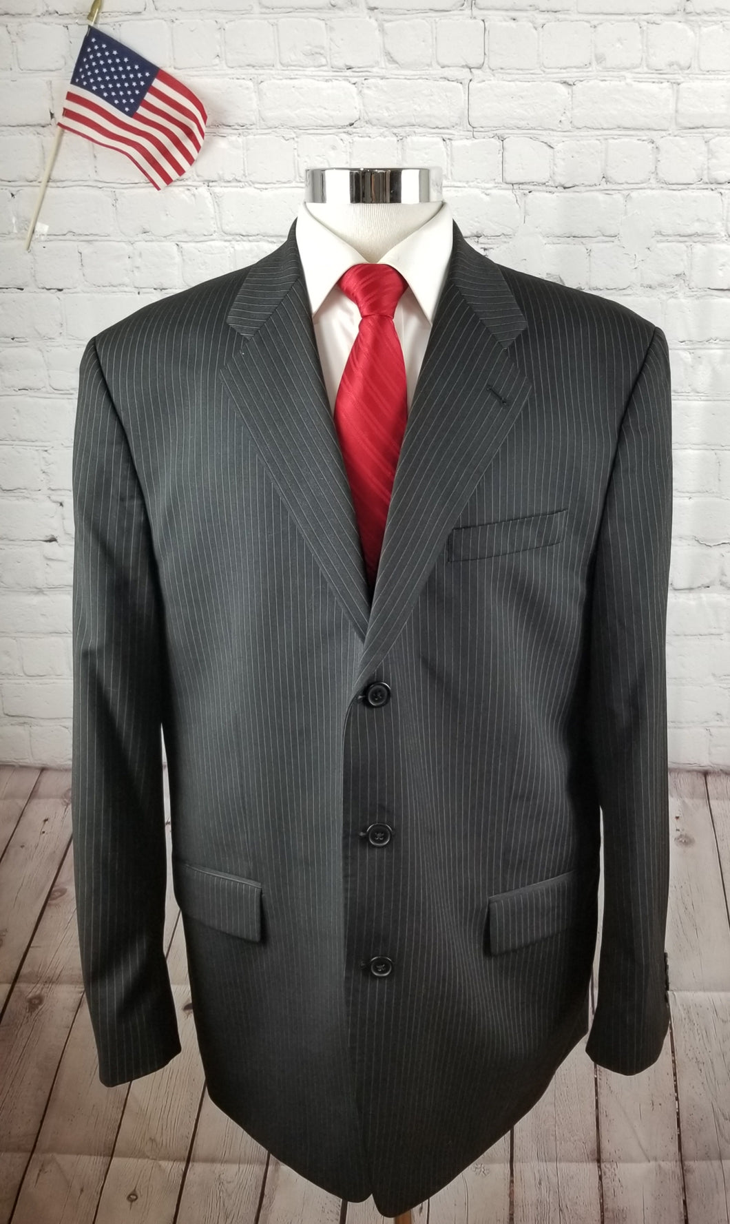 Micheal Kors Black Stripe Suit 48L Pants 40X34 $595 - SUIT CHARITY OUTLET