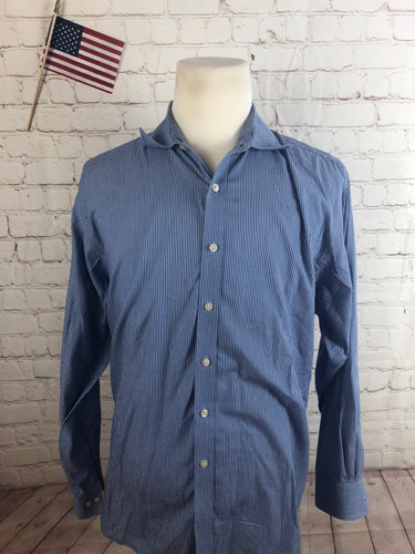 Michael Kors Men's Blue Striped Cotton Dress Shirt 17.5 34/35