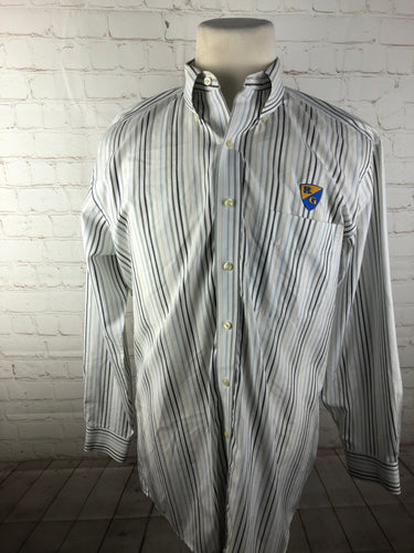 Jos. A. Bank White Striped Cotton Dress Shirt 15.5-16 32/33 $125 - SUIT CHARITY OUTLET