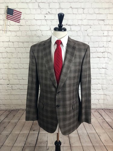 Brioni Men's Brown Plaid Wool Blazer Sport Coat Suit Jacket 42R - SUIT CHARITY OUTLET