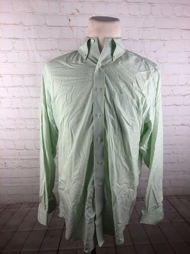 Brooks Brothers Green Striped 100% Cotton Men's Dress Shirt $125 - SUIT CHARITY OUTLET