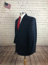Jos. A. Bank Men's Navy Plaid Wool Blazer Sport Coat Suit Jacket Size 44S $435 - SUIT CHARITY OUTLET
