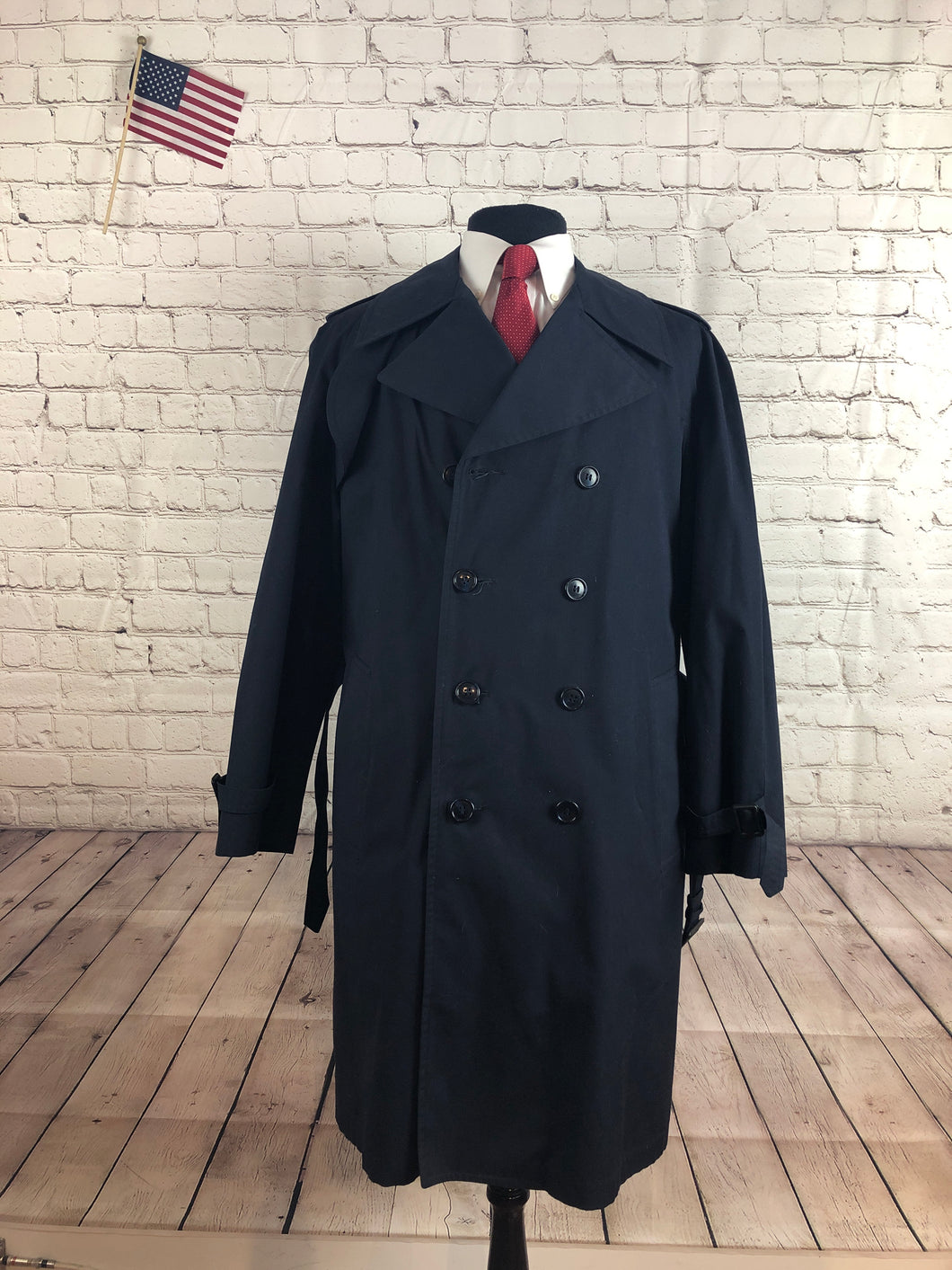 London Fog Men's Navy COTTON BLEND Trench Coat Jacket Size 38R $695 - SUIT CHARITY OUTLET