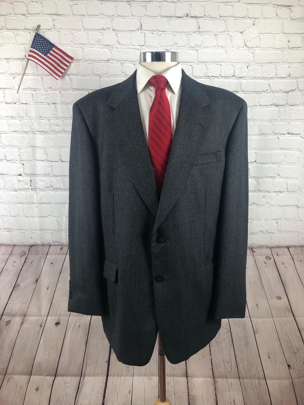Jones New York Men's Gray Heringbone Two Button Wool Blazer Sport Coat Suit Jacket 44R $349 - SUIT CHARITY OUTLET